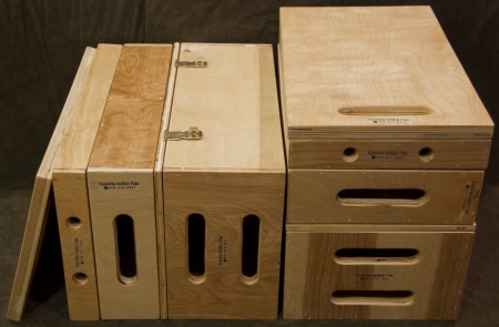 Two sets of apple boxes