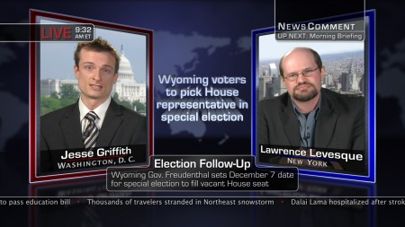 Jesse Griffith and Lawrence Levesque as cable news pundits