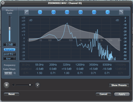 Soundtrack Pro's graphic EQ with spectrum analyzer